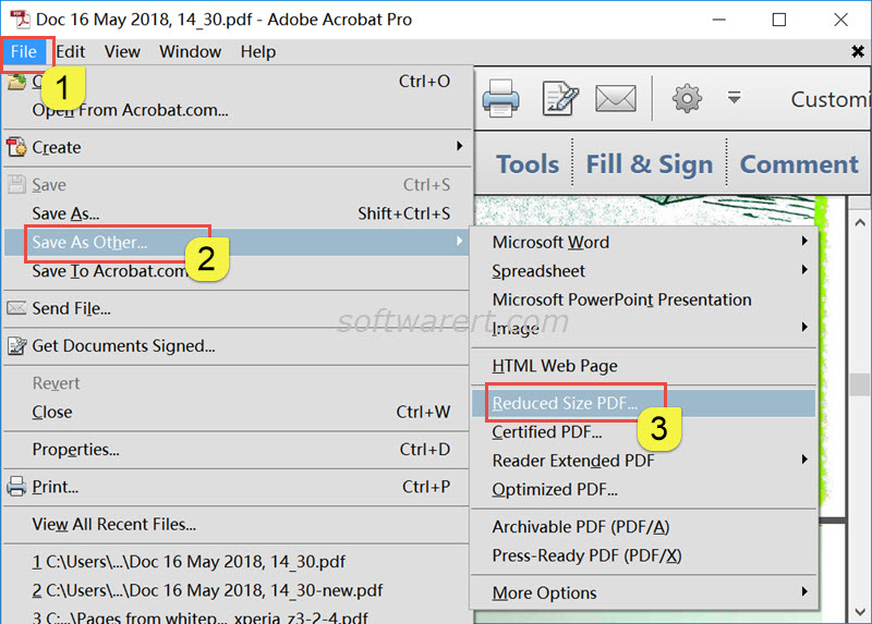 reduce file size of pdf document