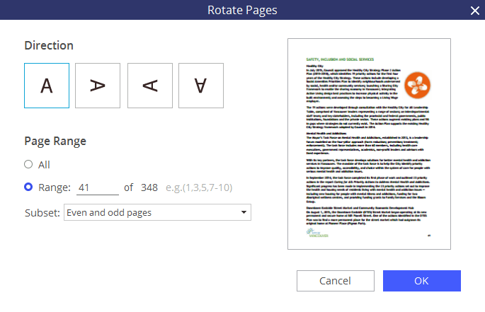 rotate pdf document and save